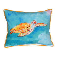 Betsy Drake Interiors   Betsy Drake Brown Sea Turtle Indoor/Outdoor Pillow    Outdoor Cushions