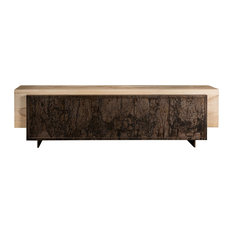 Mash Media Console Sunbleached With Abstract Metal Finish