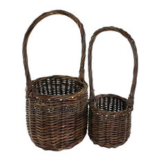Willow Tall Handled Baskets, Set of 2, Natural
