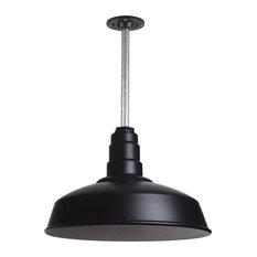 "Steel Lighting Co. - Barn Lighting 16"" Pendant With Rigid Stem, Matte Black - Outdoor Hanging Lights"