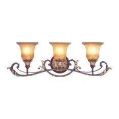 Villa Verona Bath Light, Verona Bronze With Aged Gold Leaf Accents