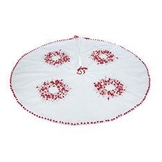 Handmade Holiday Berry Wreath Ribbon/Pom Pom Double Layer Round Tree Skirt, 48x4