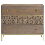 Basin and Vessel - Nelson 3 Drawer Chest - The bedroom 3 drawer chest from the Nelson collection is full of depth in design, and practicality. There is no compromise with a solid mango wood build, and natural brass detailing. These materials are used to highlight the Nelson drawer chests cubic pattern and iron base.