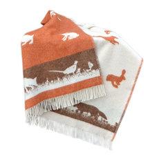 "100% New Zealand Rabbit and Fox Wool Throw Blanket,  51""x67"", Orange"