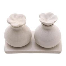 White Bali Frangipani Ceramic Oil Bottles, Set of 2