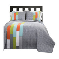 Shelly Orange and Blue Stripe 2-Piece Quilt Set, Twin