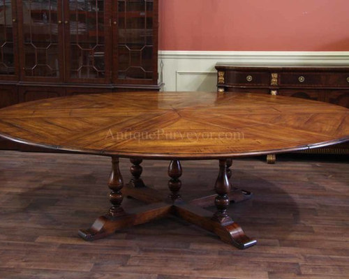 Expandable Round Dining Tables,Rustic Styles, Solid Walnut