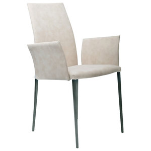 Vega Contemporary Armchair, Cream and Graphite