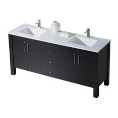 Parsons 72 Double Vanity, Matte White, White Sink, White Countertop