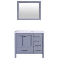 """Totti Shaker 36"""" Transitional Gray Bathroom Vanity"""