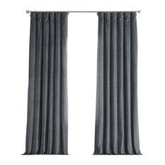 "Signature Natural Gray Blackout Velvet Curtain Single Panel, 50""x108"""