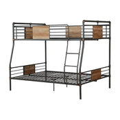 Brantley Full-Over-Queen Metal Bunk Bed, Sandy Black and Silver