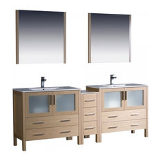 "Fresca Torino 84"" Light Oak Double Sink Bathroom Vanity"