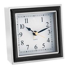 Alarm Clock, Black Enamel and Silver
