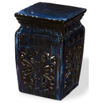 China Furniture and Arts - Navy Blue Floral Design Porcelain Chinese Garden Stool - With an antique drip mottled glaze finish, this garden stool draws inspiration from earthenware stools originally used in temple gardens in the Far East. The design features open carving flower motifs on its four sides. The overall antique dark blue glaze makes this a perfect addition for indoor and outdoor use and easily complements any setting. This item will be shipped from Westmont, IL 60559 U.S.A