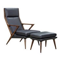 Modrest Fulton Modern Black Lounge Chair and Ottoman