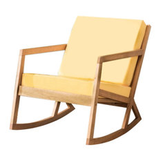 Safavieh Vernon Rocking Chair Teak Brown Yellow Outdoor Chairs