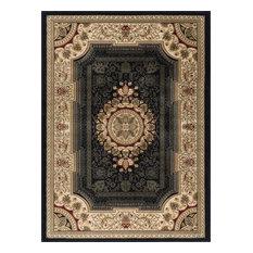Jayden Traditional Oriental Black Rectangle Area Rug, 9' x 12'