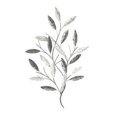 Silver Leaves Wall Art, 53x84 cm