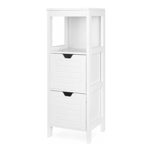 Floor Standing Storage Cabinet Unit With 2-Drawer and 1 Open Shelf, Traditional