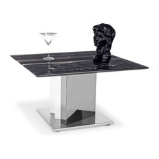 Zuri Furniture - Nero Black and White Marble End Table With Polished Stainless Steel Base - Side Tables and End Tables