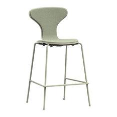 Hi Khaki Green Iron Counter Stool, Robin Egg Blue Seat