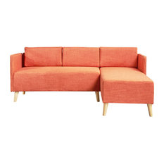 gdfstudio andresen mid century modern fabric chaise sectional muted orange sectional sofas - Chaise Orange