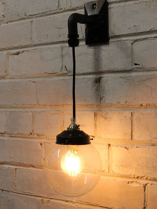Vintage Lighting with Clear Glass Shades:Hanging Wall Light - Glass Ball - Wall Lighting,Lighting