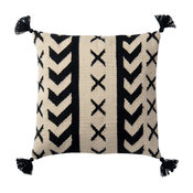 Poly-Set Pillow Cover, Black and Ivory, 18""