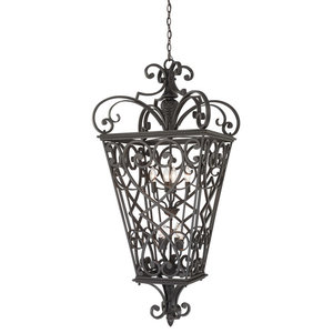 Fort Quinn 8 Light Outdoor Pendant or Chandeller in Marcado Black