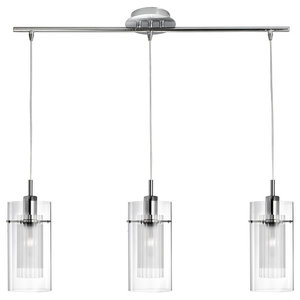 Duo 3-Light Pendant, Bar With and Frosted Glass, Clear