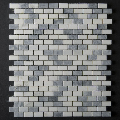 White and Gray Marble Mini-Brick Blend - Tile