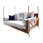 Avery Wood Porch Swing Bed, Tobacco Finish, Twin Mattress Size