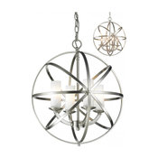 Brushed Nickel Aranya 4 Light Full Sized Pendant with Matte Opal Shade