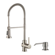 Kraus Britt Commercial Kitchen Faucet, 2-Function, SFS finish, w/ Soap Dispenser