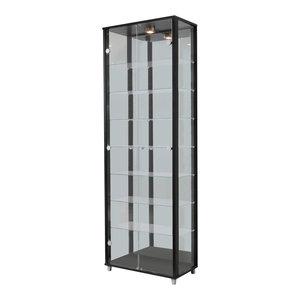 Vitrine Display Cabinet With LED, 2 Door, 7 Shelves, Black