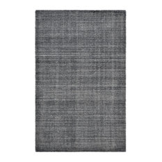 Halsey Contemporary Solid Hand-Knotted Area Rug, Charcoal, 8x10'