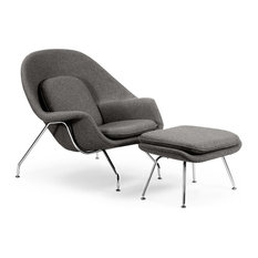 Cashmere Womb Chair and Ottoman 2-Piece Set, Cadet Gray