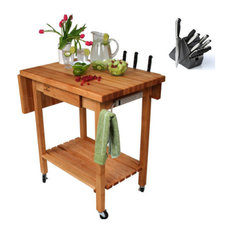 John Boos Butcher Block 24x24 Table And Henckels 13-piece Knife Block Set
