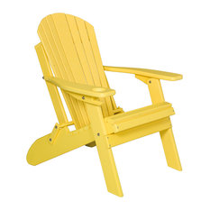 Deluxe Premium Poly Lumber Folding Adirondack Chair With Cup Holder, Yellow