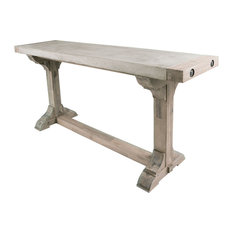 ELK Group International   Pirate Concrete And Wood Console Table With Waxed  Atlantic Finish   Console