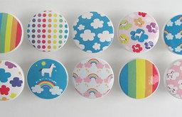 Cute Unicorn and Rainbows Knobs by Leila's Loft, Set of 10