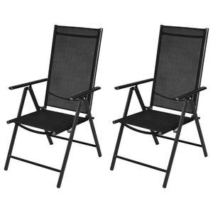 vidaXL Set of 2 Folding Garden Chairs, Aluminium, Black
