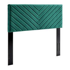Modway Alyson Angular Tufted Velvet Twin Headboard In Teal