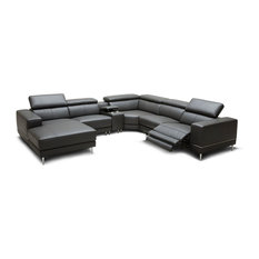 Divani Casa Wade Dark Gray Leather Sectional Sofa With 2 Electric Recliners