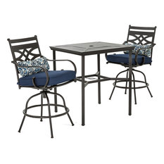 Montclair 3-Piece High-Dining Set With Rockers and Square Table, Navy