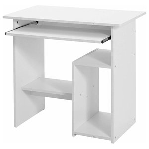 Modern Desk Table, Painted Particle Board and Veneer With Open Shelf, White