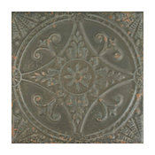 """13""""x13"""" Cantabria Ceramic Floor and Wall Tiles, Blanco, Set of 10, Charcoal"""
