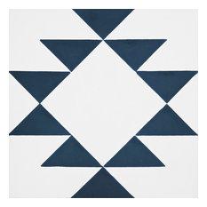 """Rissani Handmade Cement Tile, White/Navy Blue, 8""""x8"""", Set of 12"""