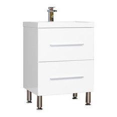 "Ripley Collection 24"" Modern Bathroom Vanity Set, White"